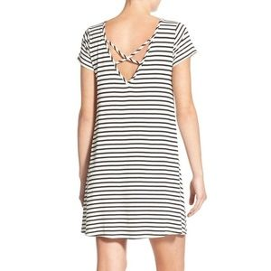 Socialite Stripe Cross Back T-Shirt Dress Tunic XS